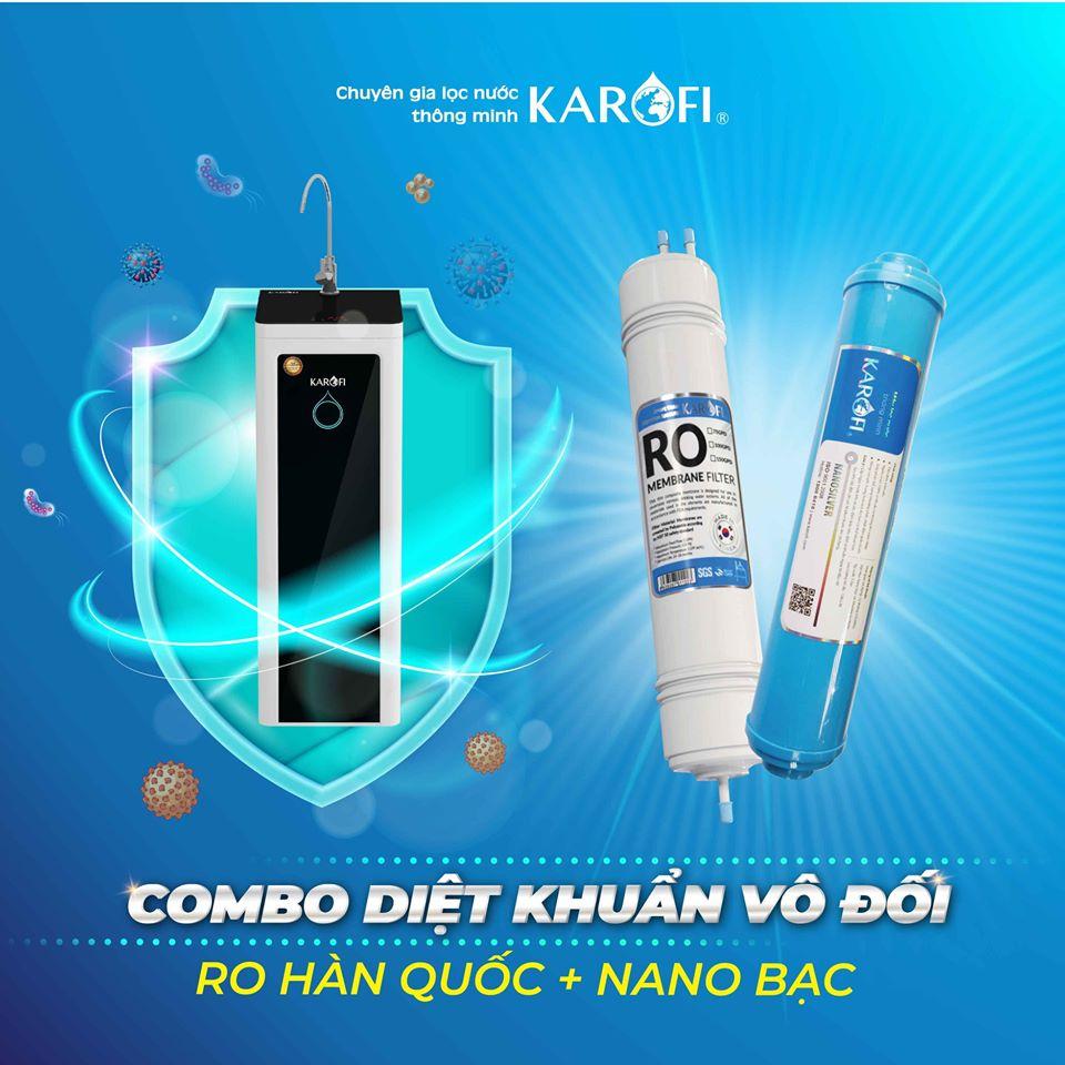 Ưu điểm của máy lọc nước Karofi là lọc nước sạch các amip, ion kim loại nặng, asen, virus, vi khuẩn cùng các tạp chất đến 99.99%