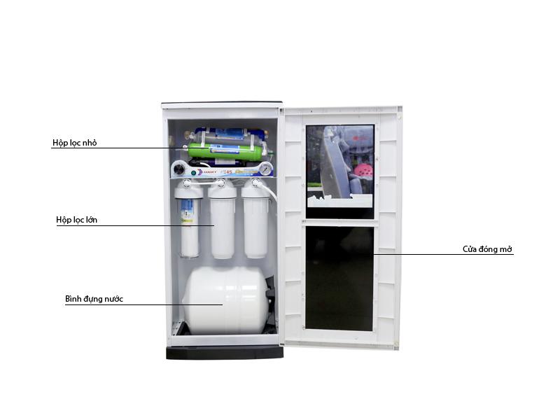 Máy lọc được ứng dụng công nghệ lọc RO giúp loại bỏ 99,999% vi khuẩn